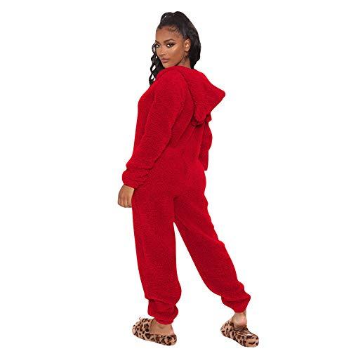 MINASAN Damen Jumpsuit Fleece Einteiler Overall Anzug Flauschig Jumpsuit flauschig und kuschelig weich warm Einteiler Ganzkörperanzug Overall warm (Rot2, S)