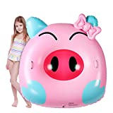 """HAPAH Inflatable Animal Pool Float with Handle, 52"""" Large Swimming Lounge Raft Floatie for Kids Adults, Funny Blow Up Floaty Ride on Water Party Toy for 6+ Years, Pink Pig"""