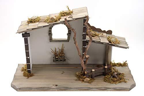 Creation Gross Holz Krippenstall, Weihnachtskrippe 45 * 18 * 25cm (OHNE Krippenfiguren)