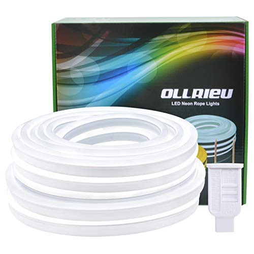 LED Neon Rope Lights Outdoor 50ft Bright White Strip Light Waterproof 6000K 110V UL Power Plug-in 1800 Units SMD2835 Indoor Connectable Flexible Decorative Lighting for Bedroom Patio Deck Kitchen