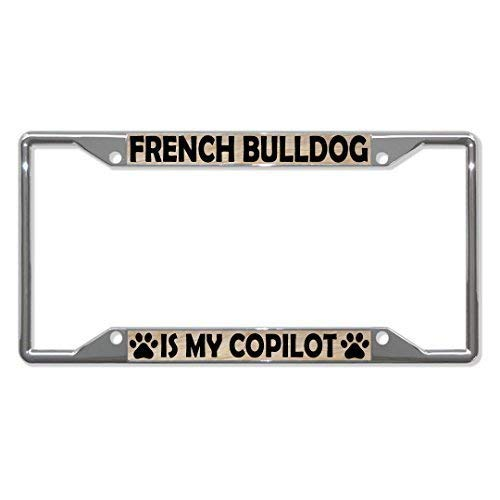 Novelty Metal License Plate Car Front License Plate, Vanity Tag, Metal Car Plate, Frame French Bulldog Dogs Frame Holder Four Holes 12 x 6 inches Aluminum, Custom License Plate Personalized