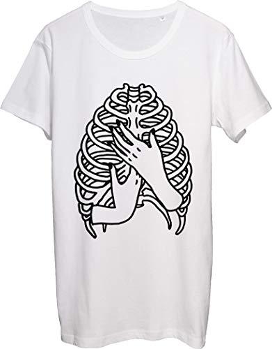 Mani umane che tengono polmone costole t-shirt bnft uomo bianco S