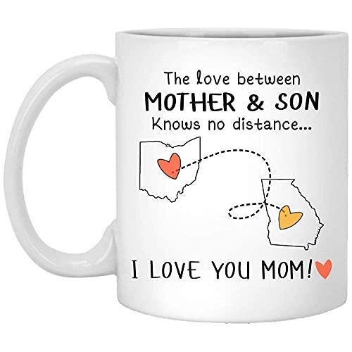 N\A Ohio Georgia El Amor Entre Madre e Hijo no Conoce la Distancia Taza de cerámica CoffeeTea 11 oz Blanco NTND3F