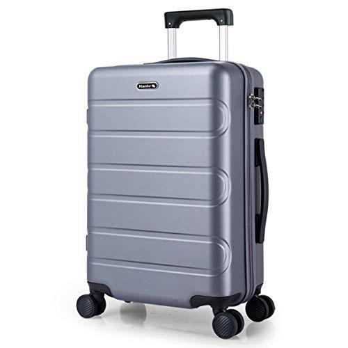 GQP Valigia rigida per valigie - 4 ruote rotanti - Materiale ABS - Lucchetto a combinazione TSA - Valigia trolley da viaggio 61 cm | grigio |-grey-XL