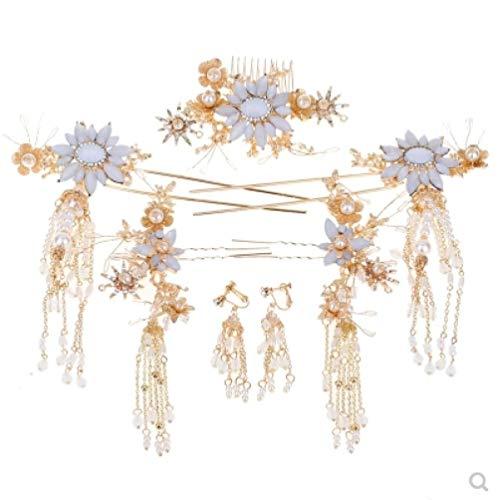 Bruid Chinese Xiuhe Kostuum Haaraccessoires Hanfu Hoofdtooi Bandaccessoires Feng Guanxia Xia Lange Draak en Phoenix Jurk Kwastje Haar Bun Set