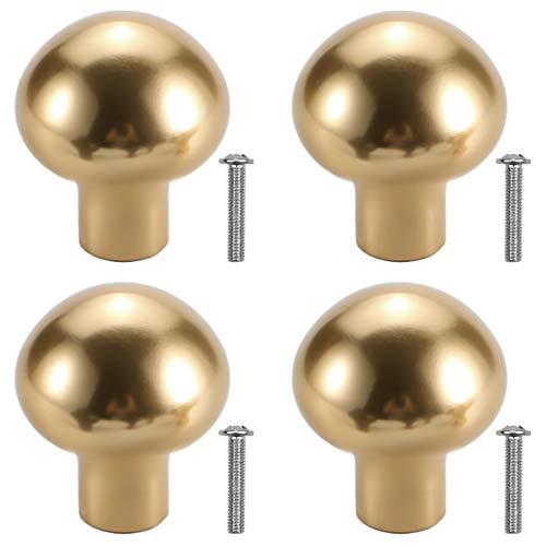 4 Pezzi Pomello Rotondo per Armadietto 25mm Pomelli per Porte in Lega di Alluminio, Manopole a Forma di Fungo, Foro Singolo Solido con Viti per Cucina Bagno Camera da Letto Mobilia (D'oro)