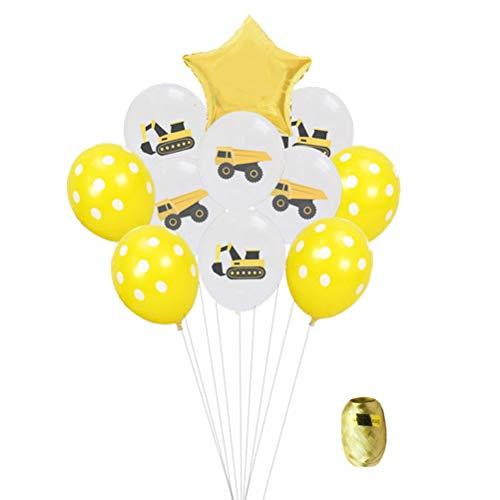 Toyvian 22 stücke Party Luftballons, 12 Zoll Farbige Bagger Truck Print Ballons, Polka Dot Latex Luftballons und 18 Zoll Star Folienballons