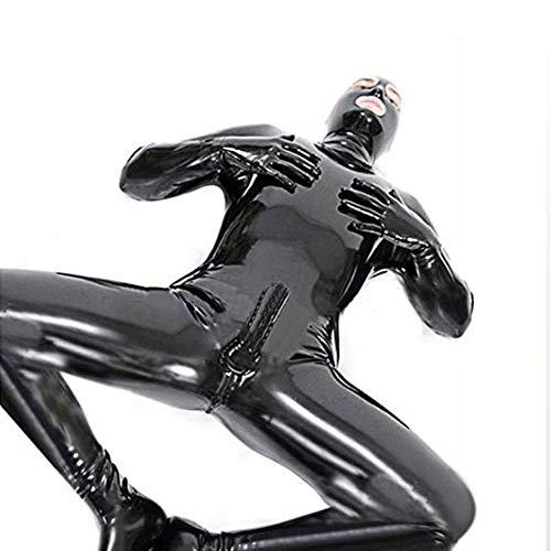Fxwj Herren Sexy Leder Latex Catsuit Wet Look Body Overall Clubwear mit offenem Mund Schwarz,L