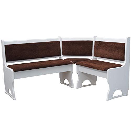 koma Banco esquinero (madera maciza de pino, 120 x 200 cm), color blanco y marrón