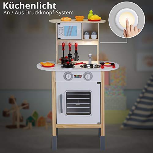 Spielzeugküche Spielküche Kinderküche Happy Kitchen 35 Teile Zubehör Holzküche Lichteffekt Kinder Spielzeug Lernspiel - 8