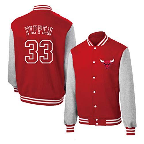 Scottie Pippen 33# Basketball Top Jacken - Chicago Bulls Klassisches Retro Baseball-Hemd für Männer und Frauen Batman Basketball Swingman Sweatshirt Pippen33# red-L