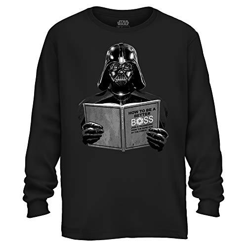 Star Wars Darth Vader Dark Side Empire Funny Humor Pun Adult Men's Graphic Long Sleeve Shirt (Black, Large)