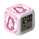 Baluue Despertador Unicornio para Niños - Despertador Digital Led Fácil de Configurar Relojes de Cubo Luz Nocturna Gran Pantalla Reloj de Dormitorio Regalos para Niñas