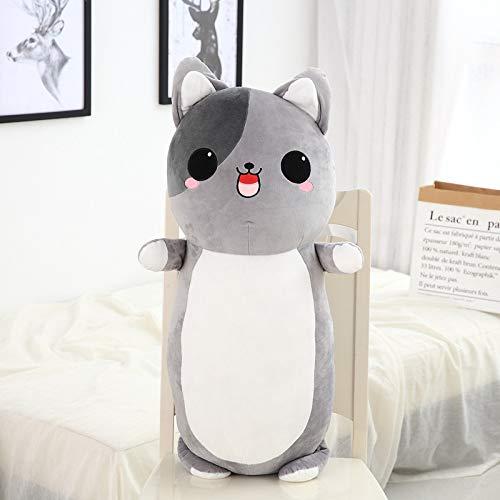 Boufery Cute Cat Plush Toys, Stuffed Soft Animal Pillow Dolls, Baby Sofa Cushion Toys, Birthday for Children 60cm (Gris)