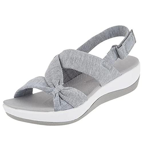Women s Sandal Light Star Super Stellar Women s Wedge Sandal Summer Beach Shoes Thick Sole (Gray,36)
