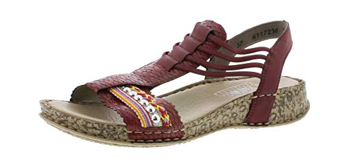 Rieker 61172 Femme Sandale à lanières,Sandales à lanières,Chaussures d'été,Confortable,Plat,medoc/beige-multi/36,40 EU / 6.5 UK