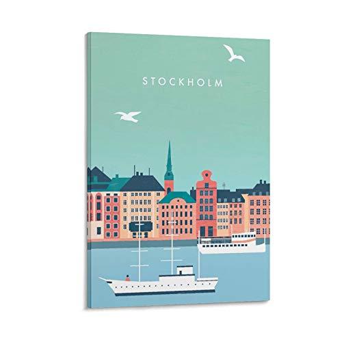 CMNHGCYD Stockholm Canvas konst affisch och väggkonst bildtryck modern familj sovrum dekor affischer 50 x 75 cm (20 x 30 tum)