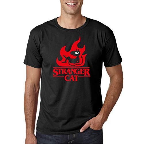 Stranger Cat - Camiseta Negra Manga Corta