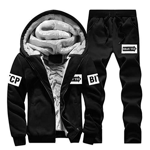 Winter Mannen Set Casual Warm Dik Hooded Jacket+Broek 2 ST Sets Mannen Inner Fleece Hoodies Rits Tracksuit Jongens Sportswear