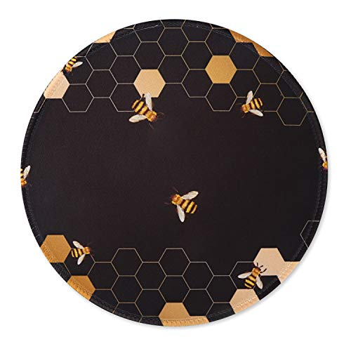 iCasso Mouse Pad with Stitched Edge, Non-Slip Rubber Base and Comfortable Lycra Cloth Mouse Mat, Round Waterproof Mousepad for Computer, Laptop, Office, Home - 7.9 x 7.9 inch - Honeycomb