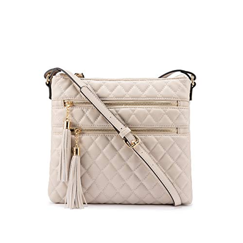 LOVEVOOK Small Leather Crossbody Purse for Women Crossbody Purses and Handbags Top Zipper Closure with Tassels