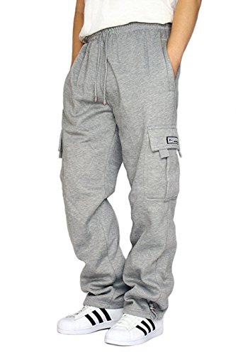 DREAM USA Men's Heavyweight Fleece Cargo Sweatpants, Grey,, Grey, Size X-Large