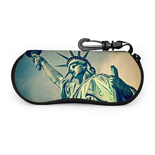 Estuche de gafas con mosquetón Cerrar Estatua Liberty Ciudad de Nueva York Gafas de sol con cremallera de neopreno portátil ultraligero Estuche blando - Se adapta a la mayoría de los lentes