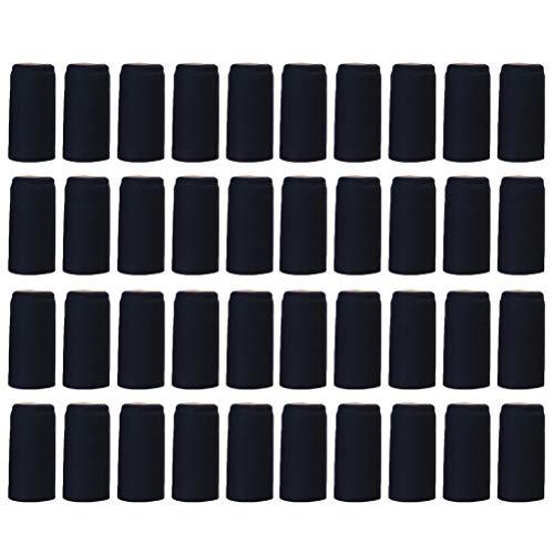 UPKOCH 100 cápsulas termorretráctiles de PVC, para todas las botellas de vino, 30 mm de diámetro, color negro