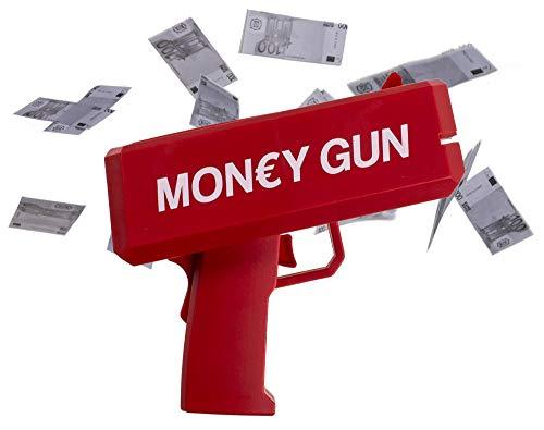 PhiLuMo Money Gun/Cash Gun/Geld Pistole mit 100 Euro Spielgeld Scheinen