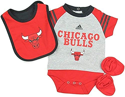 Chicago Bulls Adidas NBA lactantes gris rojo reproductor de Little Baby Creeper, babero y botas Set