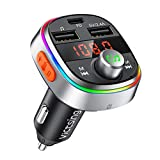 VicTsing Bluetooth FM Transmitter, USB C PD & Enhanced Bass Car Bluetooth Adapter with 7 Color LED Backlit, 3 USB Ports, Music Player Support U Disk/TF Card