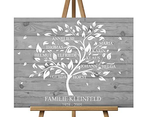70x50 cm, Familienstammbaum, Stammbaum, Statt Hochzeitsbaum oder Wedding Tree,Leinwanddruck - Baum, Leinwand, Keilrahmen und Holz Motiv