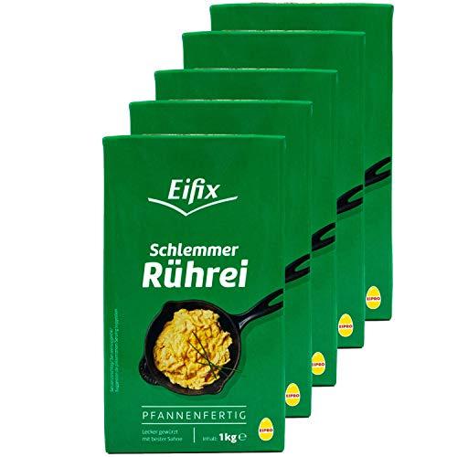 Eifix - 5er Pack Schlemmer Rührei pfannenfertig 1 kg Packung - Eipro Vollei flüssig lecker gewürzt mit bester Sahne (pasteurisiert)