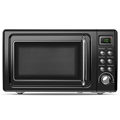 ARLIME 0.7Cu.ft Retro Microwave Oven, 700W Countertop Compact Microwave with 5 Micro Power Defrost & Auto Cooking Function, LED Display, Glass Turntable & Viewing Window, Stainless Steel (Black)