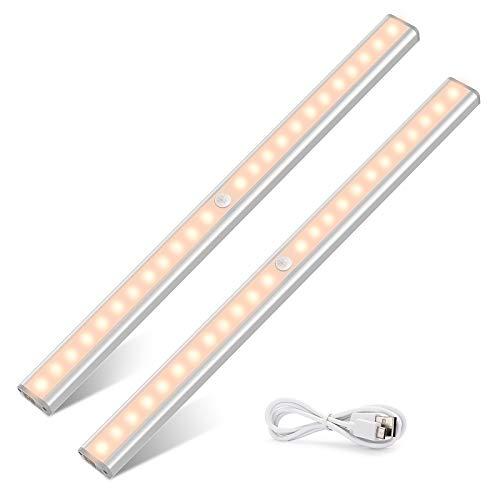 24x2 LED USB uppladdningsbar garderobslampa, TASMOR Trådlös magnetisk LED Night Light rörelsedetektor 40cmx2 automatisk nattlampa för garderob, trappa, kontor, kök, låda.