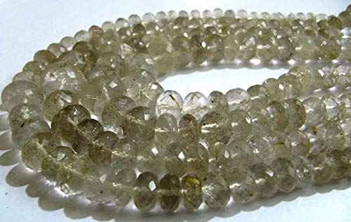 Shree_Narayani Natural Dorado Rutilado Cuarzo Rondelle Facetado 6 a 10 Perlas Graduadas 8 Pulgadas Largo Semi Precioso Color Dorado Perlas de Piedra de nacimiento 1 Strand