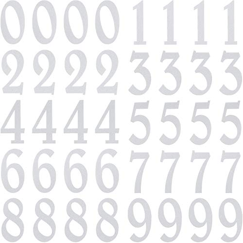 40 Pieces 3 inch Reflective Mailbox Number Decal, White Self Adhesive Address Numbers 0-9 Stickers, Waterproof and Fadeless Mailbox Sign for Bin, Window, Signs, Door, Cars