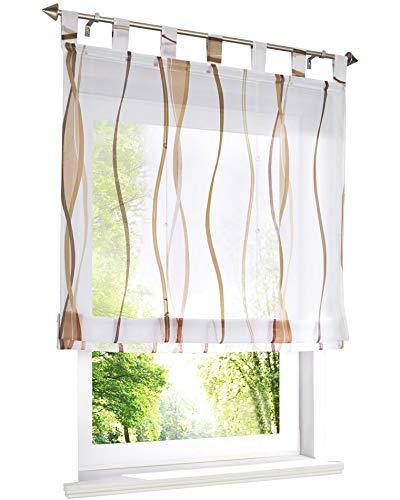 BAILEY JO Voile Raffrollo mit Wellen Druck Design Rollos Schlaufen Transparent Vorhang (BxH 120x140cm, Sand)