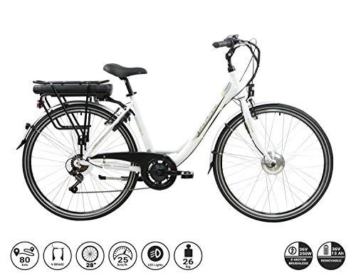 F.lli Schiano E- Moon Bicicleta eléctrica, Adultos Unisex, Blanca, 28