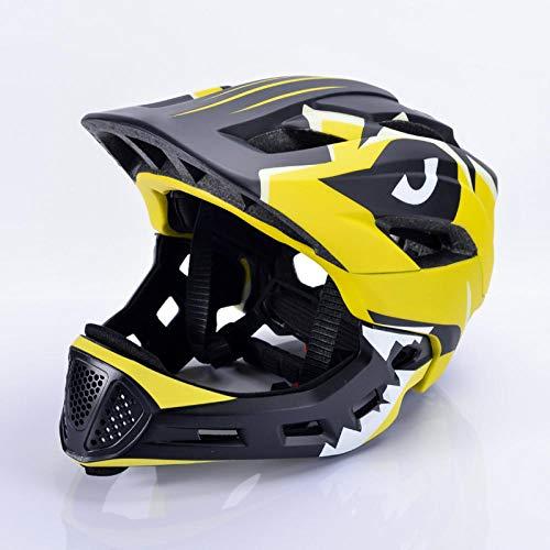 Kinderhelm Roller Fahrrad Schlittschuh Integralhelm verstellbar 52-56cm Kopfumfang 3-15 Jahre alt gelb