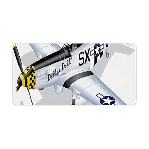 Extended Gaming Mouse Pad with Stitched Edges Large Keyboard Mat Non-Slip Rubber Base P-51 Dallas Doll Detailed Illustration American Air Force Classic Plane Desk Pad for Gamer Office 12x24 Inch
