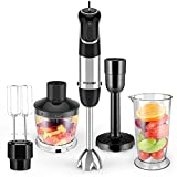 FIMEI Hand Blender, 800W Electric Hand Mixer [360-degree Installation], 5-in-1 Immersion Blender with Whisk, 500ml Food Chopper, 700ml Beaker, Masher, Stepless Speed and Turbo Setting