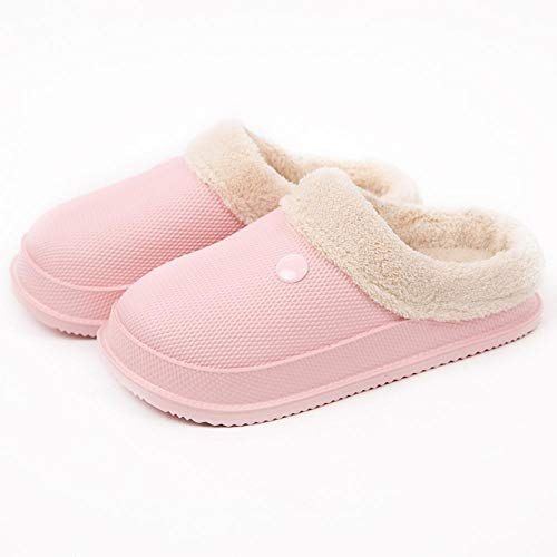 B/H Zapatillas de casa Furry Winter Boo,Pantofole invernali in Cotone impermeabile EVA, puntale antiscivolo Scarpe calde-Rosa_39-40,Zapatillas de diabético Fit Memory Foam