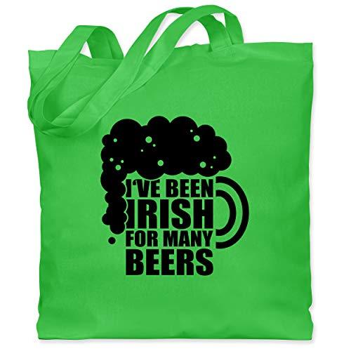 St. Patricks Day - I've been Irish for many Beers - schwarz - Unisize - Hellgrün - XT600_Jutebeutel_lang - WM101 - Stoffbeutel aus Baumwolle Jutebeutel lange Henkel
