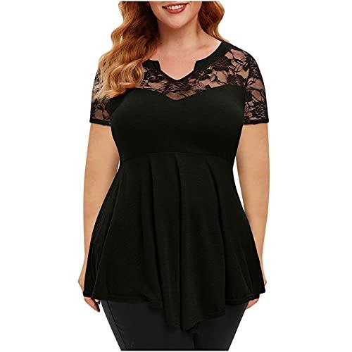 Dasongff Camiseta de encaje para mujer, elegante, blusa, camiseta informal, cuello de pico, suéter, informal, hombros descubiertos, parte superior de patchwork, sexy, talla grande, blusa de té