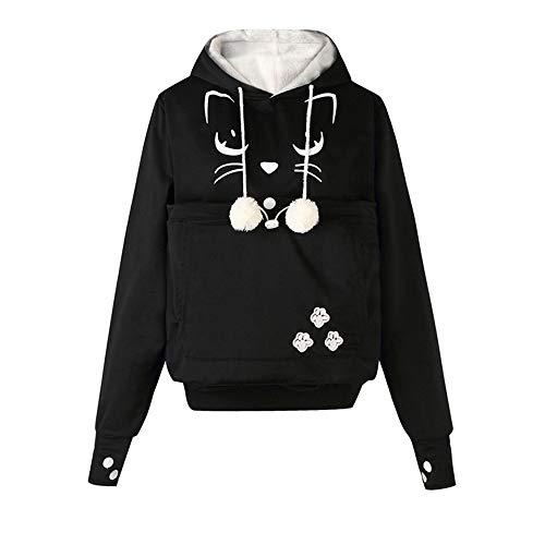 Sweats à Capuche Femme Polaire,GongzhuMM Visage de Chat imprimé Sweatshirt Hoodie Pullover Pull à Capuche Sweater Chandail Noir/Gris/Blanc 34-40 EU