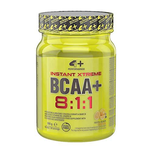 4+ NUTRITION - Instant Xtreme BCAA+, Integratore Sportivo, per Ricostruzione delle Fibre Muscolari, con L-leucina, L-isoleucina e L-valina, Gusto Orange, 300 gr