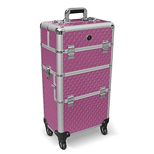 Aluminium trolley koffer schminkkoffer pilotenkoffer visagistenkoffer kapperskoffer in paars