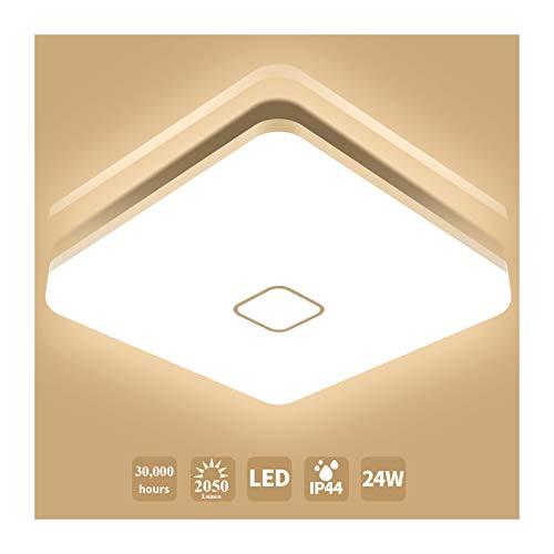 Öuesen Lámpara de techo LED 24W IP44 2050lm Plafón LED Moderno Blanco Cálido 3000K para Pasillo Salón Cocina Dormitorio Baños