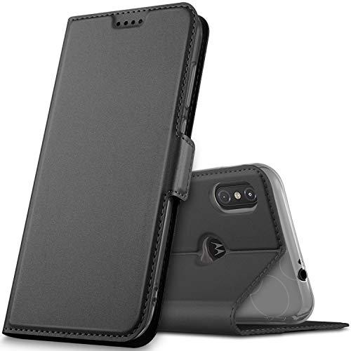 GeeMai Motorola One Hülle, Moto one Hülle, Motorola One Leder Hülle Flip Case Wallet Stylish mit Standfunktion & Magnetisch Ledertasche Schutzhülle handyhüllen für Motorola One Smartphone, Schwarz